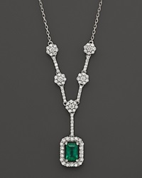 Bloomingdale's Emerald And Diamond Necklace In 14K White Gold Multi