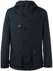 Woolrich Button Up Hooded Jacket Blue