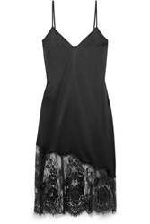 Cami Nyc The Selena Lace Trimmed Stretch Silk Charmeuse Chemise Black