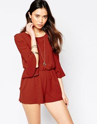Love Split Back Playsuit With Bell Sleeves Red