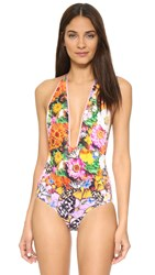 Clover Canyon Butterfly Petals Halter One Piece Multi
