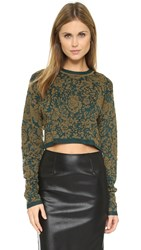 Torn By Ronny Kobo Laina Crop Sweater Night Teal Multi