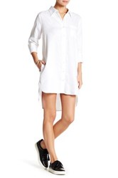 Allen Allen Linen Shirt Dress Petite White