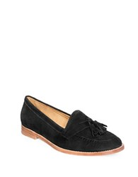 Patricia Green Lexington Suede Tailored Loafers Black