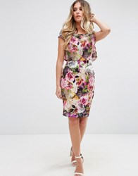 Jessica Wright Capped Sleeve Pencil Dress In Garden Floral Print Pink