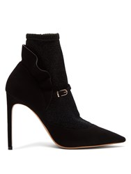 Sophia Webster Lucia Lurex Panelled Suede Ankle Boots Black