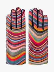 Paul Smith Swirl Stripe Leather And Wool Mix Gloves Multi