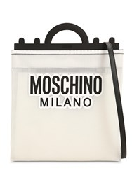 Moschino Logo Print Net Tote Bag White