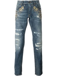 Dolce And Gabbana Embellished Ripped Jeans Blue