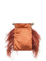Rosantica Athos Feather Detail Clutch Brown
