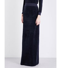 Vetements High Rise Velvet Maxi Skirt Navy