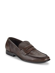 Saks Fifth Avenue Lawrence Woven Leather Penny Loafers Brown