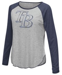 G3 Sports Women's Tampa Bay Rays Line Drive Long Sleeve T Shirt Gray Navy