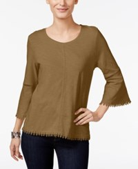 Style And Co Crochet Trim Bell Sleeve Top Only At Macy's Chipmunk