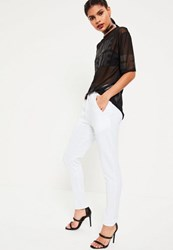 Missguided White Zip Back Pintuck Joggers