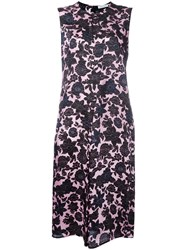 Christian Wijnants Floral Print Satin Dress Women Cupro Viscose 36 Pink Purple