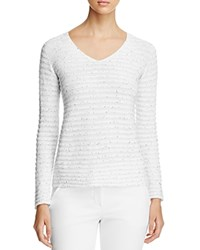 Armani Collezioni Sequin Striped Sweater White