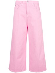 Msgm Cropped Wide Leg Jeans Pink And Purple