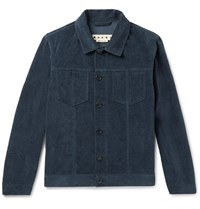 Marni Slim Fit Washed Cotton And Linen Blend Velvet Jacket Storm Blue