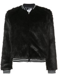 Mother Faux Fur Bomber Jacket Modacrylic Polyester Black
