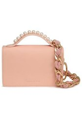 Mother Of Pearl Woman Embellished Leather Shoulder Bag Pastel Pink