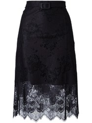 Carven Scalloped Hem Lace Skirt Black