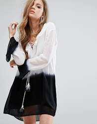 Religion Tunic Dress In Ombre And Frill Neck And Lace Up Front Gray