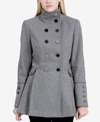 Calvin Klein Petite Double Breasted Skirted Peacoat Grey