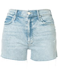Mother Rascal Palm Tree Denim Shorts Blue