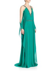 Theia Cold Shoulder Chiffon Silk Caftan Gown Kelly Green