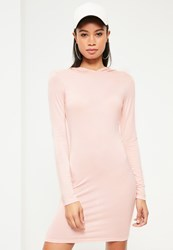 Missguided Pink Hooded Jersey Bodycon Dress Nude