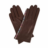Gizelle Renee Arabella Dark Brown Leather Gloves With Brown And Mauve Braided Barcode Tana Lawn