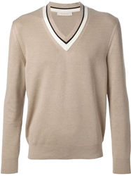 Ermenegildo Zegna V Neck Sweater Nude And Neutrals