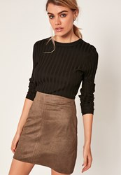 Missguided Khaki Faux Suede Stitch Front A Line Mini Skirt