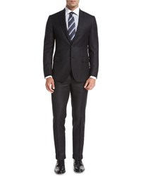 Brioni Solid Textured Wool Two Piece Suit Charcoal