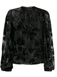 Saint Laurent Shiny Floral Embroidered Blouse Black