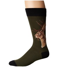 Socksmith Jackalope Olive Crew Cut Socks Shoes