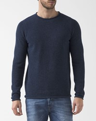 Revolution Navy Blue Crew Neck Wool Mix 6434 Pullover