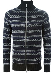 Diesel Black Gold Intarsia Knit Roll Neck Cardigan