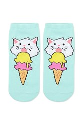 Forever 21 Cat Graphic Ankle Socks Mint Multi