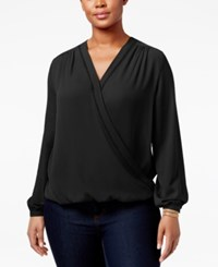 Inc International Concepts Plus Size Surplice Top Only At Macy's Deep Black