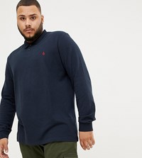Original Penguin Big And Tall Long Sleeve Polo Slim Fit Embroidered Logo In Navy Marl