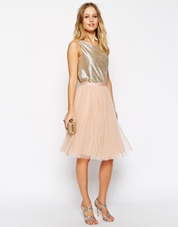 Needle And Thread Tulle Midi Skirt Dustpeach