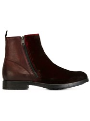 Diesel Panelled Ankle Boots Red