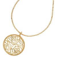 Dower And Hall Wild Rose Flower Disc Pendant Necklace Gold