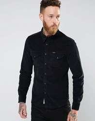 Lee Slim Cord Western Shirt Black Black
