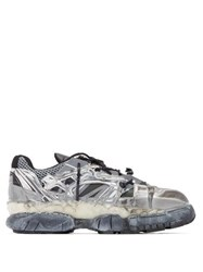 Maison Martin Margiela Fusion Distressed Leather And Mesh Trainers Silver