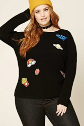 Forever 21 Plus Size Hello Patch Sweater Black