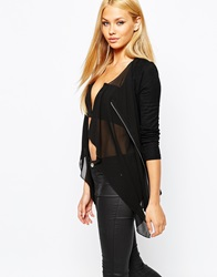 Lipsy Waterfall Drape Cardigan With Woven Contrast Black