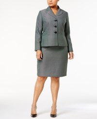 Le Suit Plus Size Three Button Tweed Skirt Emerald Multi